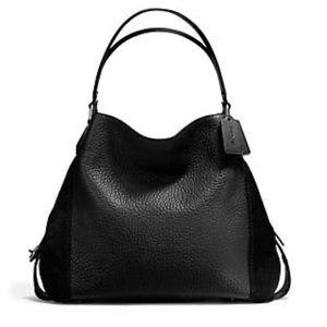 COACH Edie Shoulder Bag 42 Leather Gunmetal/Black